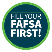 "blue and green medallion with white font reading ""file your FAFSA first!"""