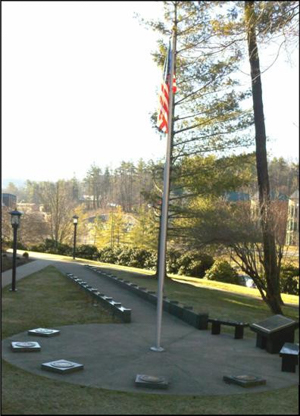 Veteran's Memorial Monument on campus